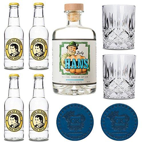 Gin Tonic Set Get Lucky | 1x Lucky HANS Gin | 4x Thomas Henry Tonic Wasser | 2x Gin-Gläser | 2x Glas-Untersetzer | Auch perfekt als Geschenk