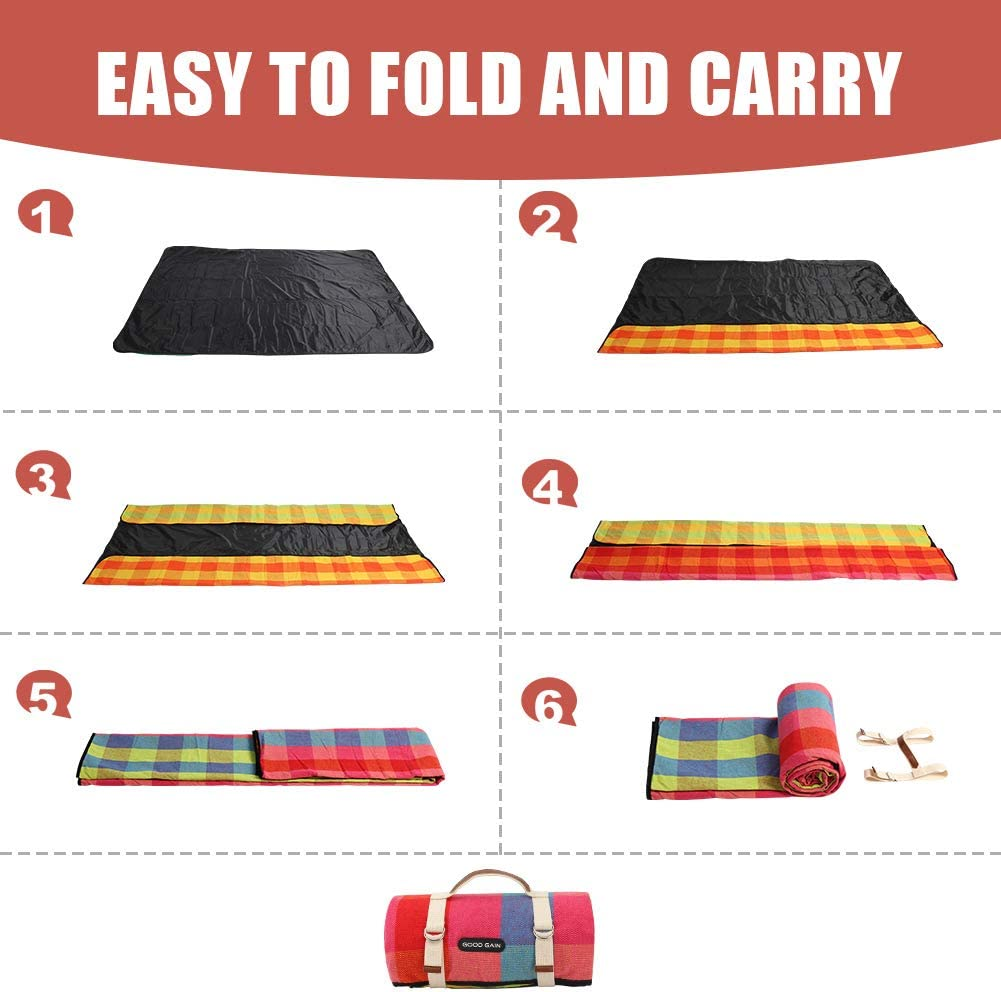 G GOOD GAIN Picnic Blanket Waterproof /& Sand Proof,Beach Blanket Portable with Carry Strap XL Large Foldable Picnic Rug Outdoor Camping Party,Wet Grass,Hiking,Kids Playground.