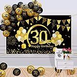 APERIL 30 Años Decoración de Cumpleaños Oro Negro, Globos de Cumpleaños Hombre Mujer, Póster de Tela Globos Negros Oro Globos de Confeti para 30 Feliz Cumpleaños Pancarta de Fondo 30 Cumpleaños
