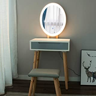 YOURLITE Makeup Vanity Table Set with 3 Modes Adjustable Lighted Mirror Cushioned Stool, Dressing Table for Small Space
