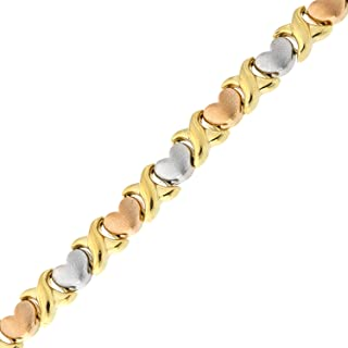 14k Yellow, White and Rose Gold Tri-Color Matte Heart X and O Link Bracelet, 7.25 Inches