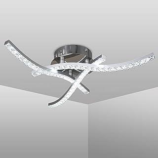Plafonnier LED, luminaire plafonnierde vague, plafonnier en cristal, lumière blanche neutre 4000K, 18W 1600Lm, LED lustre...