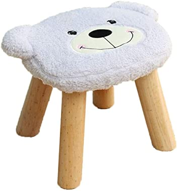 lyqqqq Ottomans Cartoon Bear Flannel Stool Footstool,Children's Toy Change Shoe Bench Solid Wood Feet,Living Room Home Decora
