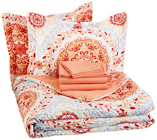 AmazonBasics 7-Piece Bed-In-A-Bag - Full/Queen, Coral Medallion