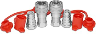 """3/8"""" Ag ISO 5675 Hydraulic Quick Connect Pioneer Style Couplers, 3/8"""" NPT Thread, 2 Sets"""