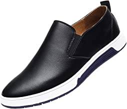 Men's Fashion Breathable Casual Leather Shoes Round Toe Slip-On Male Shoe for Wedding Party Banquet Prom Tuxedo