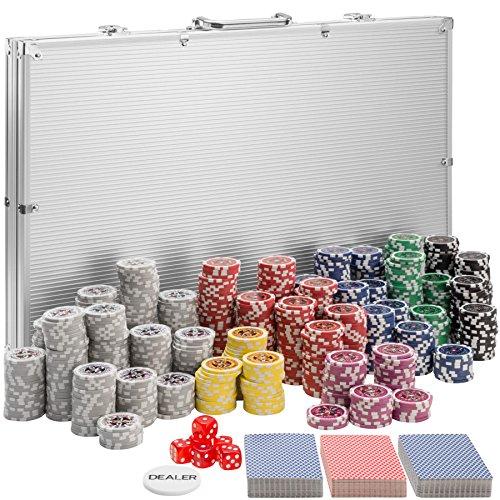 TecTake 402561 Maletín de Póker Aluminio con Fichas Láser Poker Chips, 1.000 Pieza, Incl. 5 Dados + 2 Barajas de Cartas + 1 Ficha de Dealer, Plateado