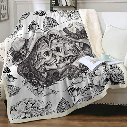 Wild-Rose Manta de forro polar con diseño de calavera, color blanco y negro, estilo vintage, para adultos, para sofá, cama, regalo cristiano, 274 x 228 cm