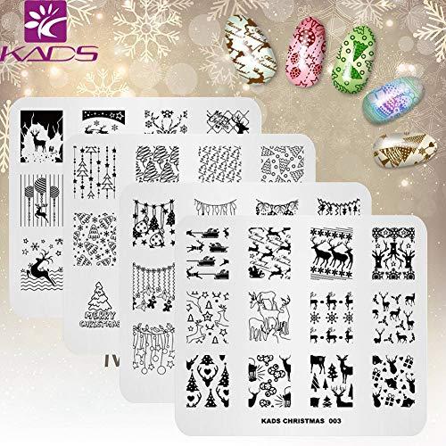 KADS 4pcs Natale Nail Stamping Piastra Piastre di progettazione immagine per Nail Art Decoration e Nail Art fai da te