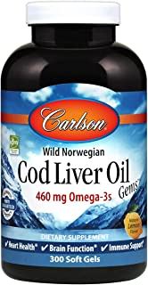 Carlson - Cod Liver Oil, 460 mg Omega-3s + Vitamins A & D3, Wild-Caught Norwegian Arctic Cod-Liver Oil, Sustainably Source...