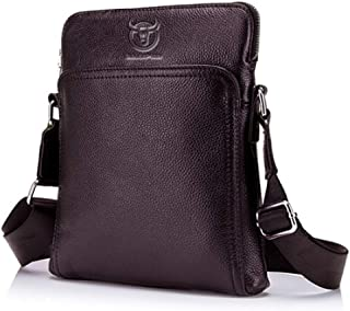 Haibeisi Fashion Unique Men's Shoulder Bags First Layer Leather One Shoulder Crossbody Bag for Casual (Color : Brown, Size : M)