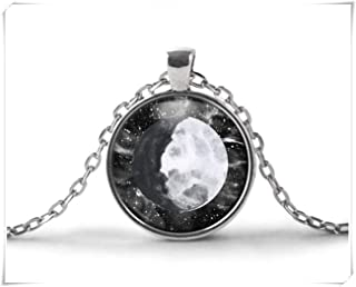 no see long time Waxing Gibbous Moon Necklace,Moon Phase Necklace, Moon Jewelry,Moon Pendant Necklace, Galaxy Necklace, Black and White Space Stars Sky
