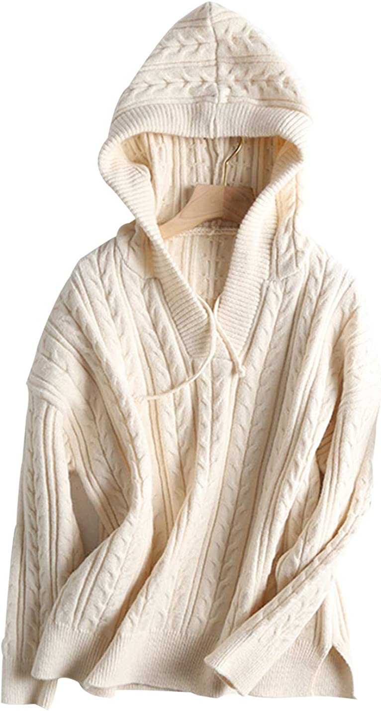 Gihuo Women's Casual Warm Long Hooded Sleeve Regular discount Milwaukee Mall Pullover Cableknit
