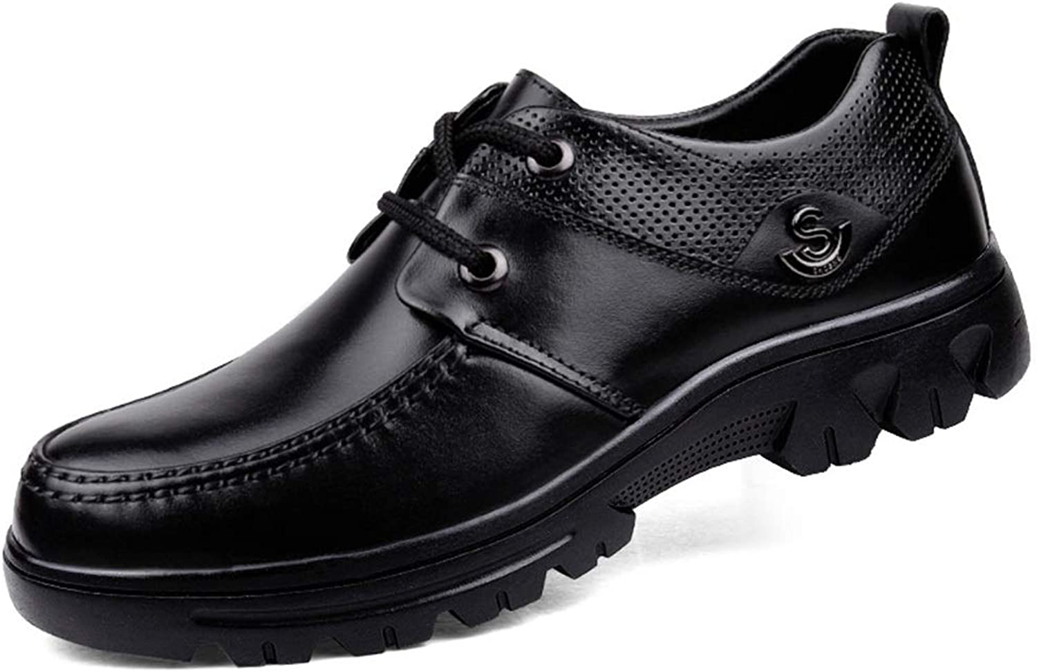 Men's shoes, Spring fall New Middle-aged Dad shoes Leather Large Size Business Casual shoes Man Anti-Slip Leather shoes (color   Black, Size   46)