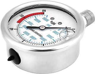 """Hydraulische manometer, waaiervormige wijzer Hydraulische meter, roestvrijstalen 1/4"""" schroefdraadaansluiting voor meting"""