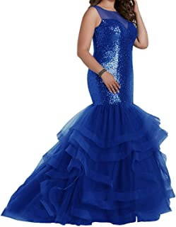 Jonlyc Mermaid Sequined Tulle Plus Size Long Evening Prom Dresses for Women
