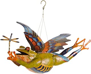 Wind & Weather Colorful Metal Flying Frog - 17 L x 15 W x 13 H