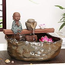 Creative Feng Shui Tabletop Fountains,Zen Ceramic Statue Buddha Fountain for Living Room Bedroom Garden