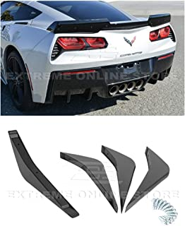 Extreme Online Store Replacement for 2014-2019 Chevrolet Corvette C7 | Z06 Track Style ABS Plastic Painted Carbon Flash Metallic Rear Bumper Lower Diffuser Fins 2 Pairs
