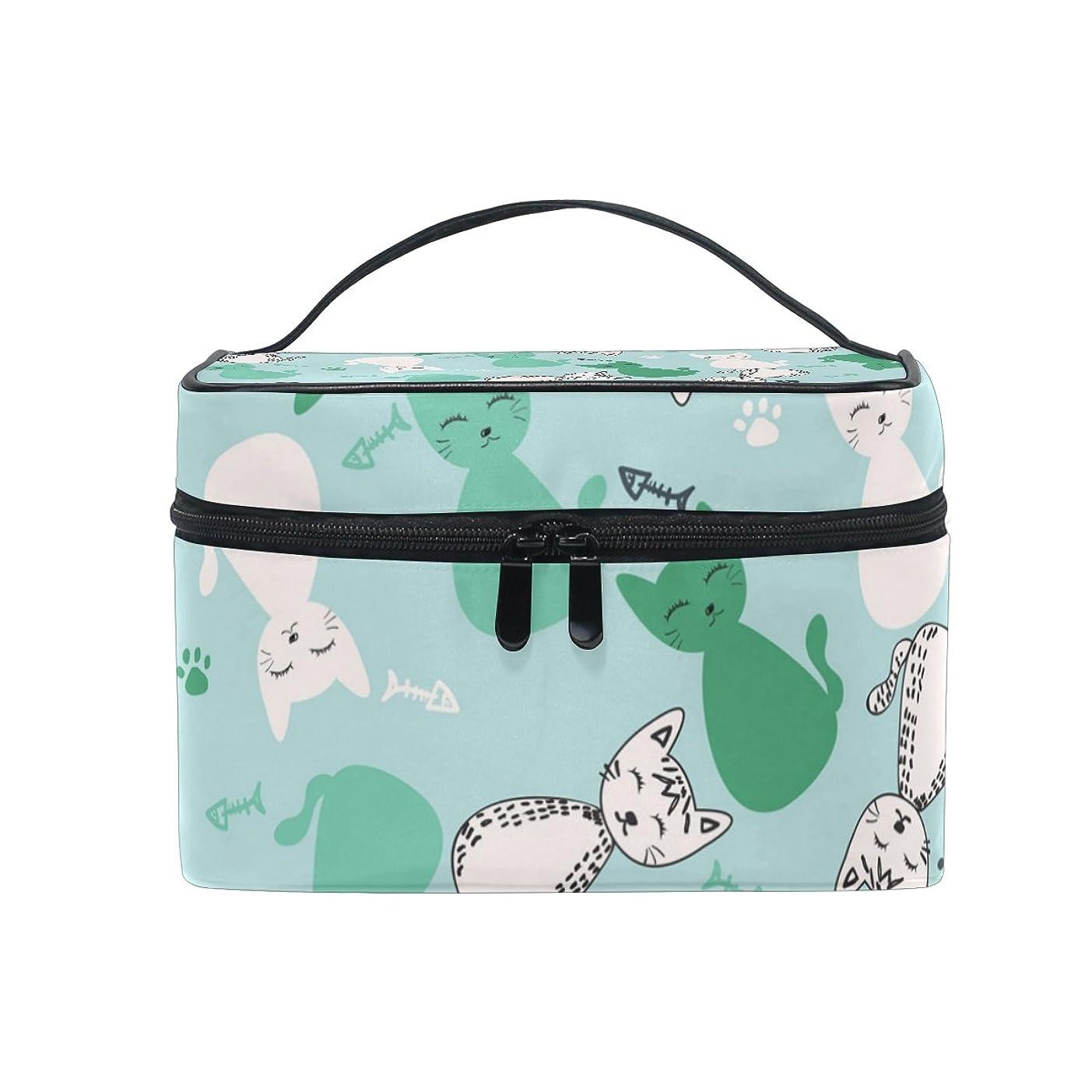 投獄等しい炭素ALAZA 化粧ポーチ ねこ柄 猫柄 化粧 メイクボックス 収納用品 グリーン 大きめ かわいい