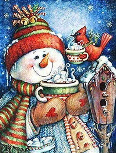 Diamond Painting Christmas DIY 5D Full Drill Diamond Painting Kits for Adults Gem Pictures by Numbers Art Santa Hat Craft for Home Decoration-11.8x15.8in-Cute Snowman