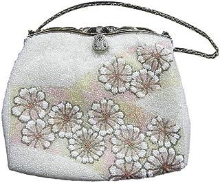 リサイクル ビーズバッグ 白地に可愛らしい花模様