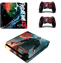 Decal Moments PS4 Slim Console Skin Set Vinyl Decal Sticker for Playstation 4 Slim Console Dualshock 2 Controllers-Halloween (PS4 Slim Only)