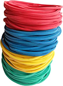 400pcs 38mm(1.5inch) JOYLOYAL Multi-Color Rubber Bands Stretchable Elastic Bands Sturdy Rubber Bands for School Home and Office Use Stationery Supplies