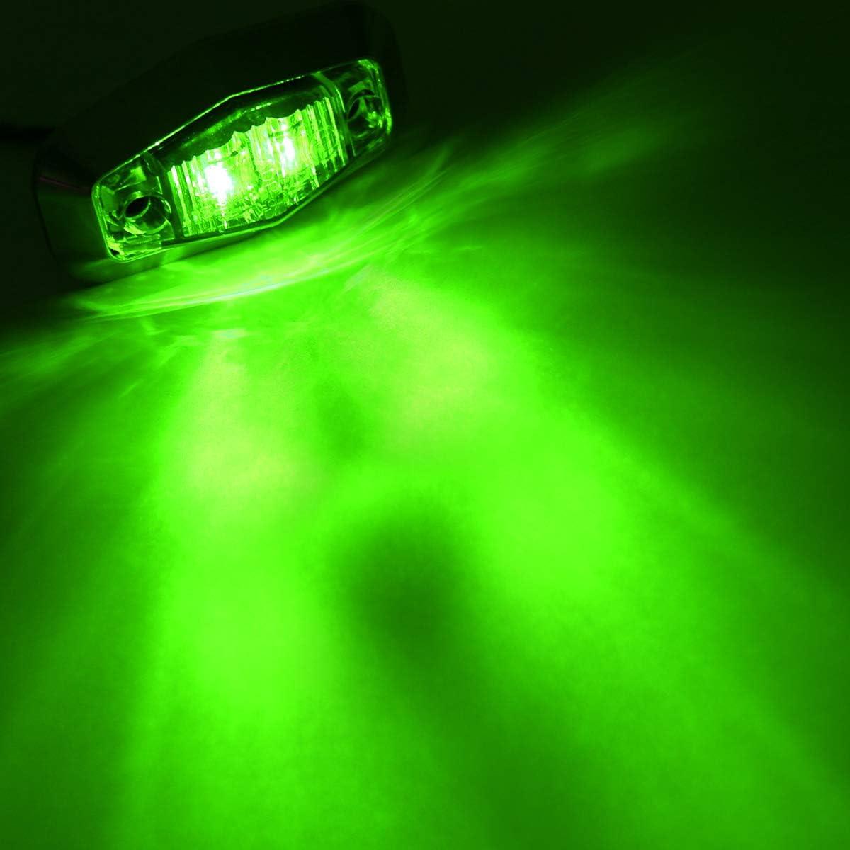 2.5 Inch Small Green Bright Side LED Marker Indicator Surface Mount Identification Lights Clearance Sealed Mini Bulb Van Boat Car Cab Trailer Camper Truck 12v DC Waterproof AA12 Pack of 2 Meerkatt