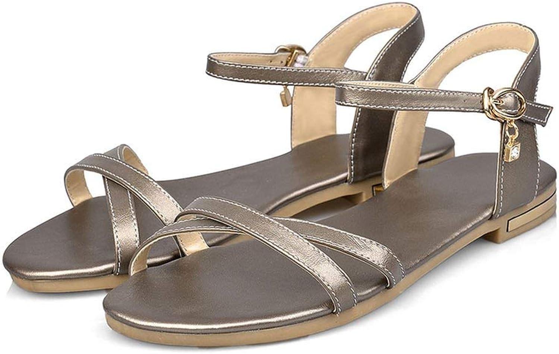 Dream-Cabin Women Sandals Simple Buckle Summer shoes Genuine Leather Comfortable Flat Sandals