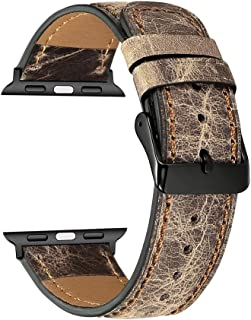 Replacement Bands for Apple Watch Series 4/3/2/1 42mm, 44mm, MyHarem Leather Wristband Strap Bracelet (Khaki)