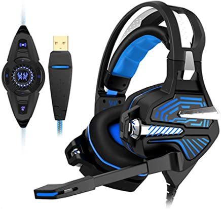 PS4 3.5mm Wired Gaming Headphones ZYDP USB Wired Gaming Headset Noise Isolation with Mic for Laptop Computer Color : Blue