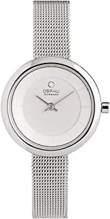 Obaku Women's Quartz Stainless Steel Dress Watch, Color:Silver-Toned (Model: V146LXCIMC)