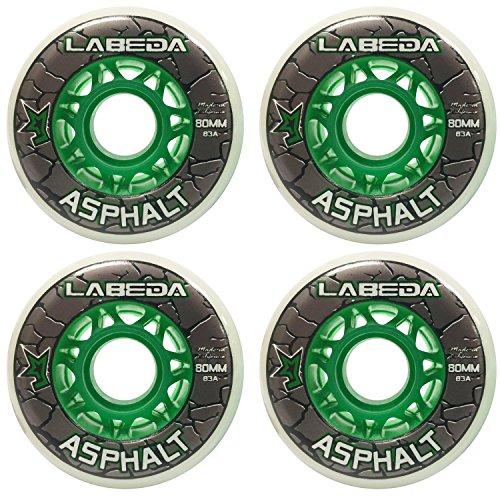 Labeda Wheels Inline Roller Hockey Gripper Asphalt Outdoor White 80mm 83A x4