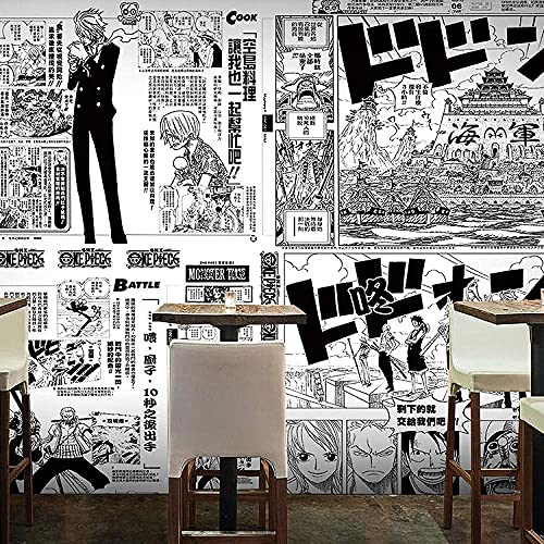 Japanese Style Hand-Painted Poster Anime Wallpaper Mural Black and White One Piece Manga Wallpaper 300(L) x200(H) cm