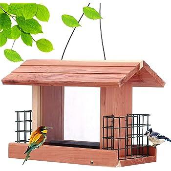 Solution4Patio Homes Garden USA Cedar Bird Feeder Wildbird Essentials Handmade Wooden Outdoor Ranch Patio Yard Tree Hanging with Double Plastic Window and Double Suet Holder Cages Combination #G-8534