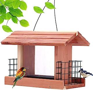 Homes Garden USA Cedar Bird Feeder Wildbird Essentials Handmade Wooden Outdoor Patio Garden Yard Tree Hanging with Double Plastic Window and Double Suet Holder Cages Combination #G-8534