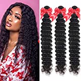 10A Brazilian Deep Wave Human Hair Bundles Wet and Wavy Human Hair Weave Bundles 100% Unprocessed Virgin Curly Hair 3 Bundles (30 30 30 inch)