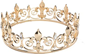 SNOWH Full King Crown Gold - Men's Crowns and Tiaras, Metal Birthday Crown, Prom Hair Accessories Costume Party Decorations for Adults and Boys