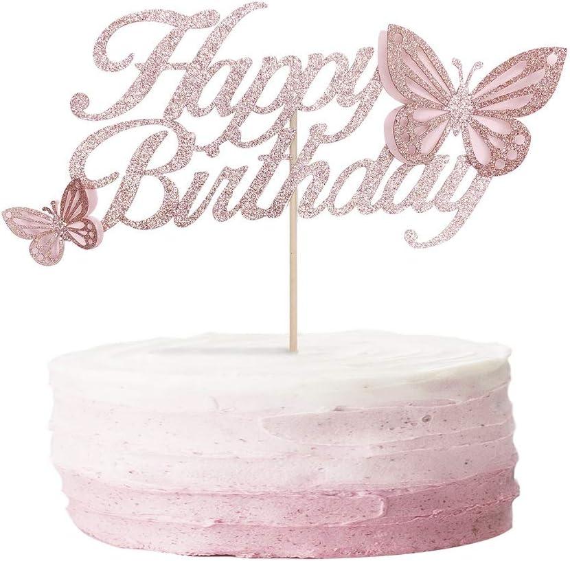 ALISSAR Rose Gold Happy Birthday Cake Topper with 3d Handmade Butterfly, Butterfly Cake Toppers for Girls Women's Birthday Cake Party Decorations.
