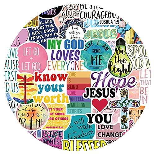 OUJINKUAJING 50PCS Jesus Christians Religion Dayings Adesivi Skateboard Valigia Congelatore Graffiti Bagagli Moto FAI DA TE Cool Sticker