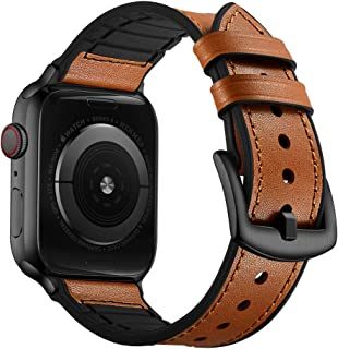 OUHENG Compatible with Apple Watch Band 42mm 44mm, Sweatproof Genuine Leather and Rubber Hybrid Band Strap Compatible with iWatch Series 5 Series 4 Series 3 Series 2 Series 1, Light Brown