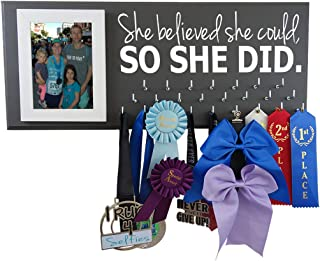 Running On The Wall Medal Hanger Display and Race Bibs SHE Believed SHE Could, SO SHE DID Medals Only Design
