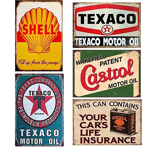 Flowerbeads Garage en métal Peinture Tin Sign Décoration murale rétro Pub et barre Mobil Oil Poster mural 20,3x 30,5cm 5PCS-20X30CM Motor Oil-b