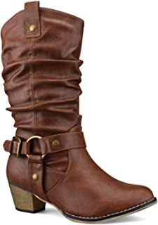Women's Western Cowboy Pointed Toe Knee High Pull On Tabs Boots