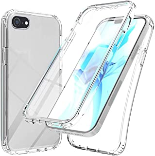 XCYYOO 360-Degrés Coque Compatible avec iPhone Se 2020/7/8, Protection Tout Round Housse Slim Silicone Full-Cover, Transpa...