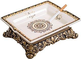 JIAJBG Novedad cenicero de cerámica a prueba de polvo oficina hogar retro moda decoración simple decoración