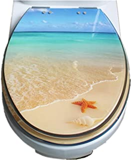 Kmest Toilet Seat Cover Resin Fit Bathroom Soft Close Quick Release Easy Install Beach Patten Design B3A2