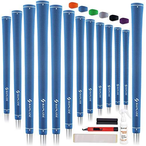 【13本交換セット】SAPLIZE セープライズ 点状の滑り止めパターン ラバー純色 ゴルフグリップ アイアンやウッドクラブ用 ブルー 溶液・ナイフ・両面テープ・クランプ フルキット