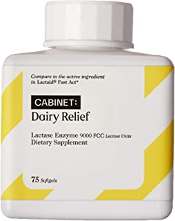 Cabinet Fast Acting Dairy Relief Lactose Enzymes, 75 Softgels, Help Prevent Gas, Bloating, Diarrhea, Intolerance, or Sensitivity, Comparable to Lactaid